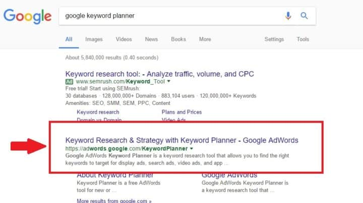 Google Planner Step 1