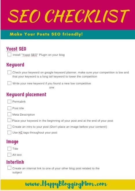 SEO checklist small pic - Happy Blogging Mom